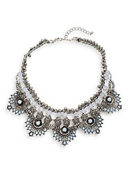 Cara Five Station Beaded Collar Necklace Antique Silver