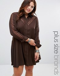 Alice And You Lace Insert Shirt Dress Chocolate Brown
