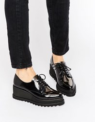 Sixty Seven Sixtyseven Lace Up Wedge Flatform Brogue Shoes C21103 Black