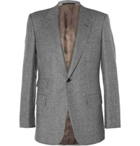 Kingsman Grey Slim Fit Houndstooth Wool Suit Jacket Gray