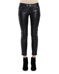 Saint Laurent Skinny Leather Moto Ankle Pant Black
