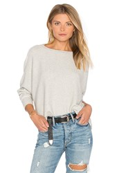 Monrow Asymmetric Dolman Sweater Light Gray