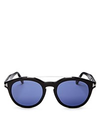 Tom Ford Newman Round Wayfarer Sunglasses 53Mm Black Blue Solid