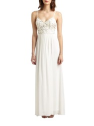 Sue Wong Beaded Maxi Dress White