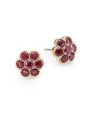 Saks Fifth Avenue Ruby And 14K Yellow Gold Flower Stud Earrings Red
