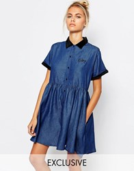 Lazy Oaf Button Front Tea Dress In Denim With Baby Embroidery Blue