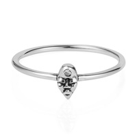 Lee Renee Tiny Voodoo Erzulie Ring Diamond And Silver Black Grey Silver