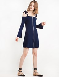 Pixie Market Beverly Shoulder Tie Ribbed Fit And Flare Dress By New Revival