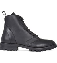 The Kooples Leather Lace Up Boots Black