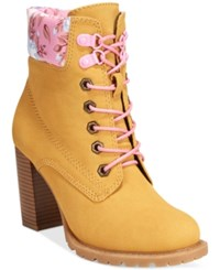 Dolce By Mojo Moxy Orchid Lace Up Utility Booties Women's Shoes Buckskin