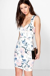 Boohoo Floral Print Sweetheart Bodycon Dress Ivory