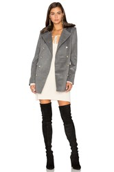 Capulet Emmy Double Breasted Coat With Faux Fur Collar Gray