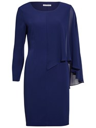 Gina Bacconi Moss Crepe And Chiffon Long Sleeve Dress Navy