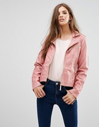 Lavand Pink Faux Leather Jacket Pink