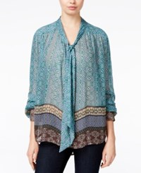 William Rast Printed Peasant Top Multi
