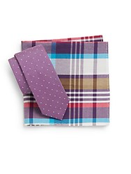 Original Penguin Perez Dotted Tie And Plaid Pocket Square Set Purple