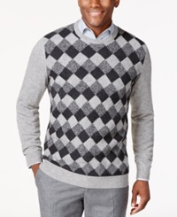 Club Room Cashmere Basket Weave Crew Neck Sweater Only At Macy's Grey Heather