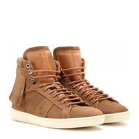 Saint Laurent Suede And Leather High Top Sneakers
