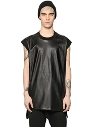 D By D Sleeveless Faux Leather And Jersey T Shirt