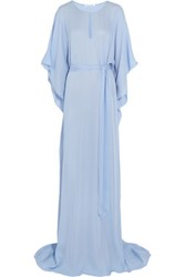 Oscar De La Renta Silk Chiffon Maxi Dress Light Blue