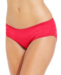 Coco Reef Ruched Hipster Bikini Bottom Women's Swimsuit Red