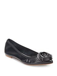 Saks Fifth Avenue Made In Italy Leather Rosette Point Toe Flats Black