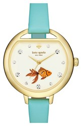 Women's Kate Spade New York 'Metro Fishbowl' Leather Strap Watch 34Mm Frosted Mint Fish