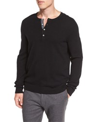 Vince Cashmere Long Sleeve Henley Sweater Black