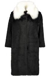 Ainea Two Tone Faux Fur Coat Black