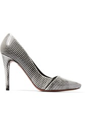 Proenza Schouler Snake Effect Leather Pumps White