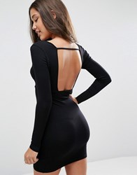 Asos Longsleeve Wrap Front Strap Back Mini Bodycon Black