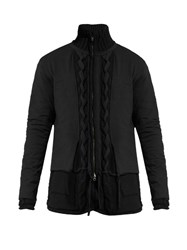Yohji Yamamoto Zip Through Layered Cable Knit Cardigan Black