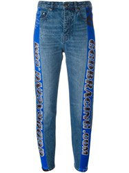 Golden Goose Deluxe Brand Racing Stripe Tapered Jeans Blue