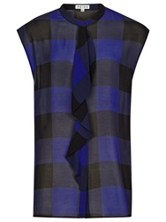 Reiss Silk Tori Sleeveless Blouse Blue Abyss