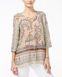American Rag Juniors' Printed Three Quarter Sleeve Tunic Only At Macy's Coral Multi