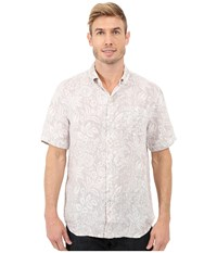 Tommy Bahama Belleville Botanical Woven Shirt Twill Men's Short Sleeve Button Up Taupe