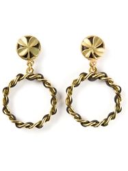 Chanel Vintage Four Leaf Clover Hoop Earrings Metallic