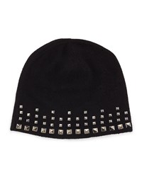 Neiman Marcus Cashmere Studded Knit Beanie Hat Black