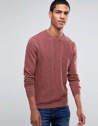 Asos Cable Jumper In Cotton Red Marl