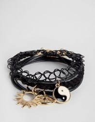 Asos Pack Of 4 Tattoo And Charm Layering Bracelets Multi