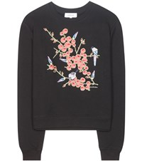 Carven Embroidered Cotton Sweater Black