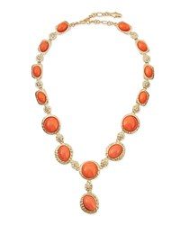 Kenneth Jay Lane Cabochon And Crystal Y Necklace Coral