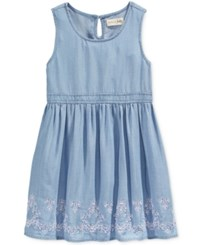 Maison Jules Little Girls' Embroidered Chambray Fit And Flare Dress