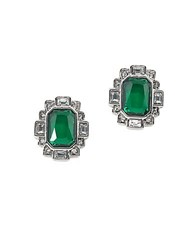 Carolee Wall Street Silvertone Stud Earrings Green