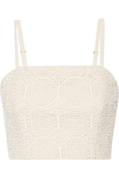 Alice Olivia Brentley Crocheted Cotton Top White