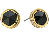 Lauren Ralph Lauren Match Point Round Stone Stud Earrings Gold Crystal Black Earring