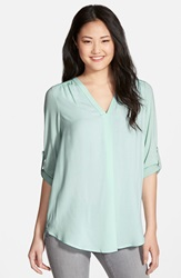 Pleione Mixed Media V Neck Tunic Regular And Petite Nordstrom Exclusive Blue Pastel
