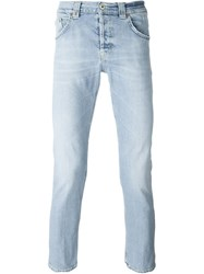 Dondup Cropped Straight Leg Jeans Blue