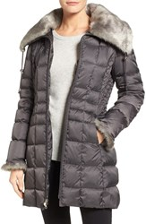 Laundry By Shelli Segal Women's Faux Fur Trim Down And Feather Coat Slate