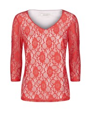 Kaliko Long Sleeve Lace Top Red